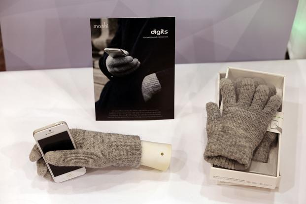 <b>Touchscreen Gloves: </b>Moshi Digits touchscreen gloves on display. The gloves are also specially wired so they can be used to control smartphone screens. AFP