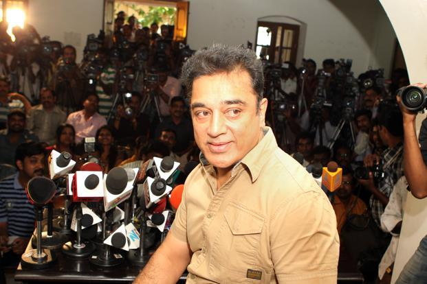 Kamal Haasan told reporters on Wednesday that he planned to treat theatres and DTH platforms alike and that, following the heat generated by his earlier decision to premiere the movie on DTH, he had taken the counsel of his colleagues in the industry. Photo: SaiSen/Mint