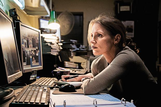 A still from the film 'Zero Dark Thirty'. The film, which opened in a limited run last month, earned five Oscar nominations last week, including best picture, original screenplay and actress for Jessica Chastain as a dogged CIA operative.