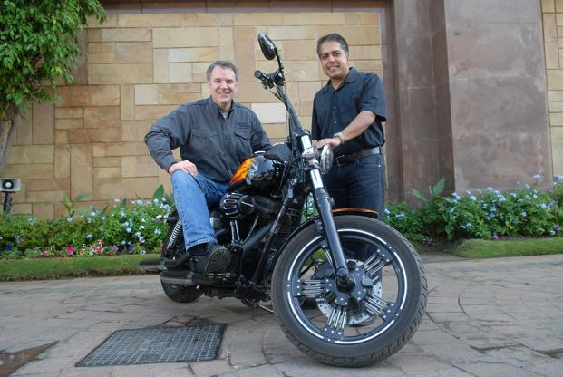Matthew Levatich (left), president and COO, Harley-Davidson, and Anoop Prakash, MD, Harley-Davidson India. Product development is a significant investment for any company and Harley-Davidson's strategy is not to develop any market-specific motorcycles, says Levatich. Photo: Hemant Mishra/Mint