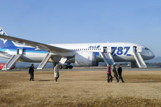 Passengers walk away from All Nippon Airways' 787 Dreamliner plane which made an emergency landing on Wednesday. Photo: Kyodo via Reuters