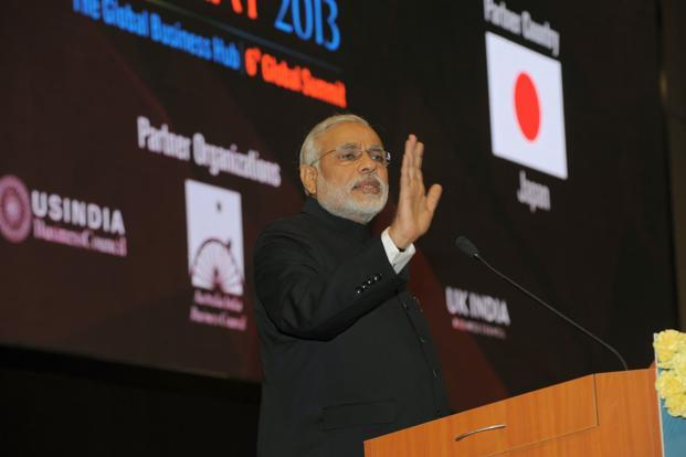 Narendra Modi at the Vibrant Gujarat summit. Photo: AFP