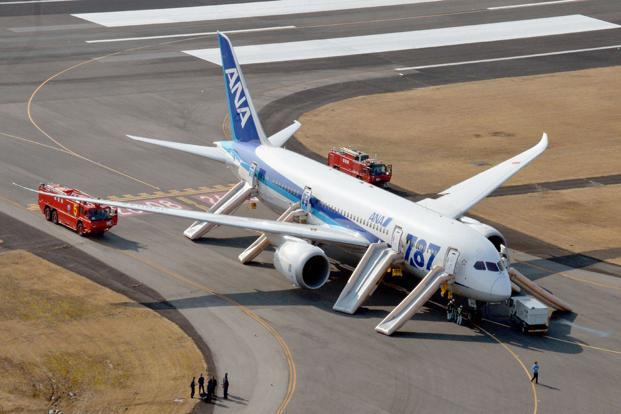 An All Nippon Airways (ANA) Boeing 787 Dreamliner, after making an emergency landing at Takamatsu airport, Japan on Thursday. ANA and Japan Airlines Co. Ltd (JAL) grounded their fleets of Boeing 787s on Wednesday and Thursday. Reuters