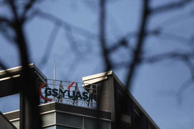A logo of GS Yuasa Corp. is seen atop the company's Tokyo office. Japanese manufacturers such as GS Yuasa, Mitsubishi Heavy Industries and other powerhouses provide about 35% of the Boeing 787's parts, and the project has boosted the ambitions of an aerospace production hub centered on the central city of Nagoya. Photo: Issei Kato/Reuters