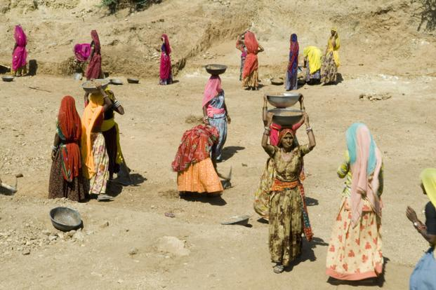 Workers at an MGNREGS project in a village in Rajasthan. Photo: Priyanka Parashar/Mint
