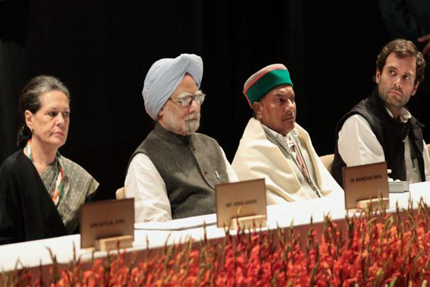 From left to right:  Congress president Sonia Gandhi, Prime Minister Manmohan Singh, defence minister A. K. Antony and Congress general secretary Rahul Gandhi at the inaugural session of the party's three-day Chintan Shivir in Jaipur. Photo: PTI