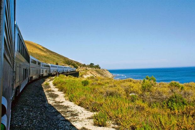 Amtrak's Coast Starlight running beside the Pacific Ocean near Santa Barbara. Photo: Courtesy Amtrak