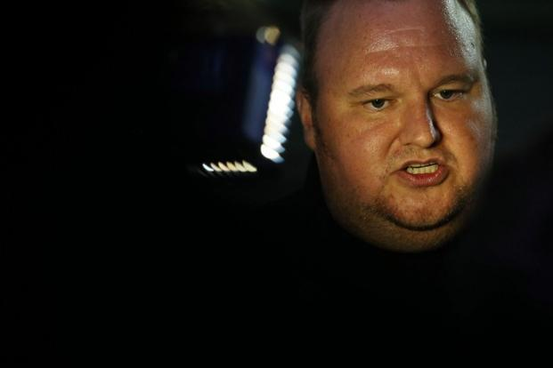 Megaupload founder Kim Dotcom speaks to the media at the launch of mega.co.nz on Sunday. Photo: Michael Bradley/AFP.