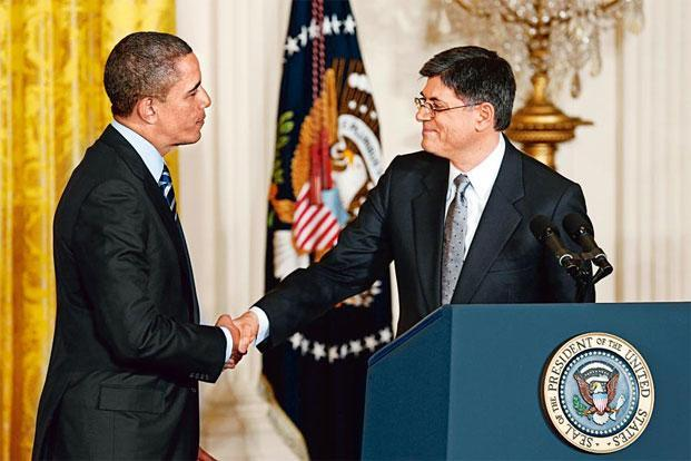 Barack Obama and Jack Lew (right).Photo: Kevin Lamarque/Reuters