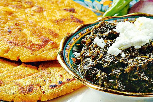 Sarson ka saag and makki ki roti. Photo: Hindustan Times