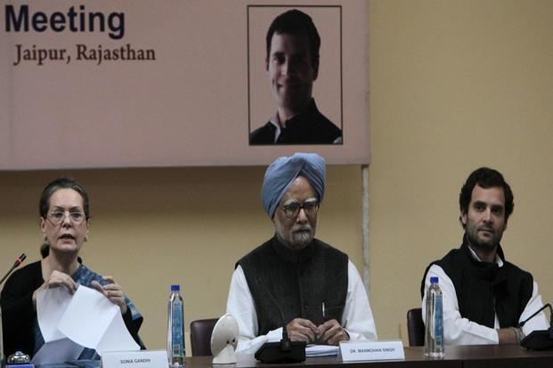 Prime Minister Manmohan Singh (centre) with Congress president Sonia Gandhi and Congress vice-president Rahul Gandhi in Jaipur on Saturday. Photo: PTI