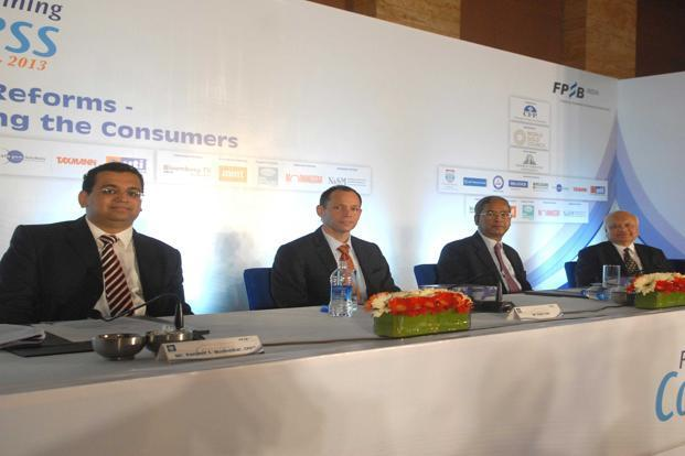 Consumer voice: (L-R) Ranjeet S. Mudholkar, vice-chairman and CEO, FPSB India; Peter Haas, consul general, embassy of the US; U.K. Sinha, chairman, Sebi and D. Swarup, chairman, FPSB India and member convenor, Financial Sector Legislative Reforms Commission at the FPSB's financial planning congress 2012-13 held in Mumbai on 16 January. Hemant Mishra/Mint