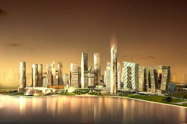 An artist's impression of the proposed Gujarat International Finance Tec-City.