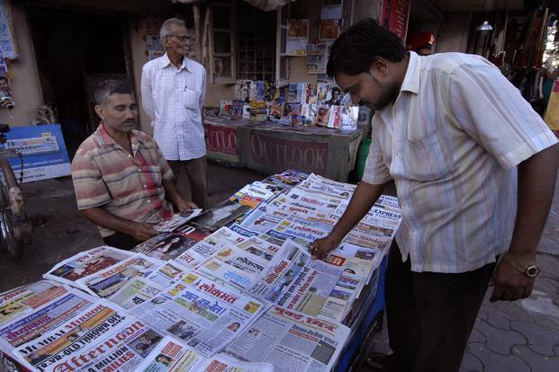 A newspaper stall selling newspapers in Mumbai. Photo: Abhijit Bhatlekar/Mint