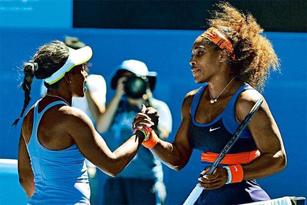 The injured Serena Williams (right) said she was almost relieved after losing to Sloane Stephens. Photo: Toby Melville/Reuters