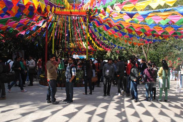 Visitors to the ongoing Jaipur Literature Festival. Photo: Mint