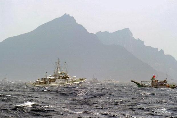 A view of the disputed Diaoyu/Senkaku islands from the East China Sea. Photo: AFP