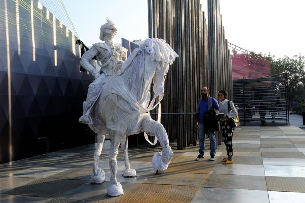 A file photo of an art installation at India Art Fair 2012. Photo: Pradeep Gaur/Mint (Pradeep Gaur/Mint)