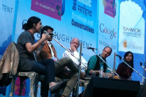 Panelists at the Shakespeare session at the Jaipur Literature Festival.