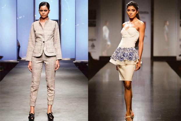 Skinny pants and jacket in Khadi Tussar from A&T (left) and an outfit from Rahul Mishra's Spring/ Summer 2013 collection.