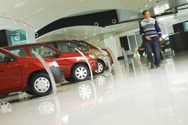 A file photo of a Maruti Suzuki showroom. Photo: Pradeep Gaur/Mint