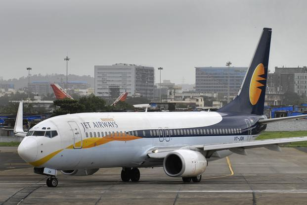 A file photo of Jet Airways aircraft at Mumbai International Airport. Photo: Abhijit Bhatlekar/Mint