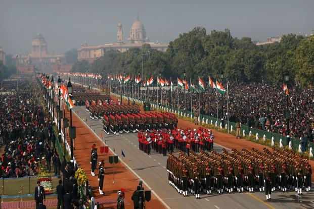 Indian army soldiers march during Republic Day celebrations in New Delhi on Saturday. Photo: AP
