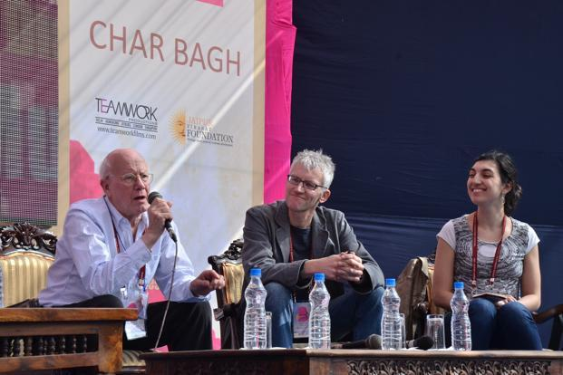 Panelists at What is a classic? session at the Jaipur Literature Festival.Photo: Mahesh Acharya
