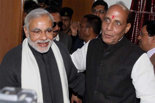"Gujarat chief minister Narendra Modi (left) with BJP president Rajnath Singh. ""There was a discussion of 2014,"" Modi said after the meeting that lasted nearly two hours. Photo: PTI"