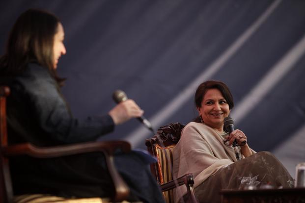Sharmila Tagore held forth eruditely on the impact of cinema on society, but when she walks around the palace grounds the question that thousands ask her is when Saif and Kareena are planning to have a baby. Photo: M. Zhazo/Hindustan Times