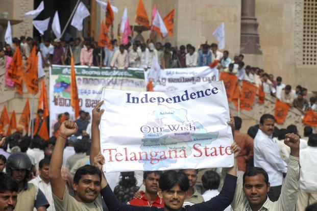 A file photo of Telangana supporters. Photo: AP