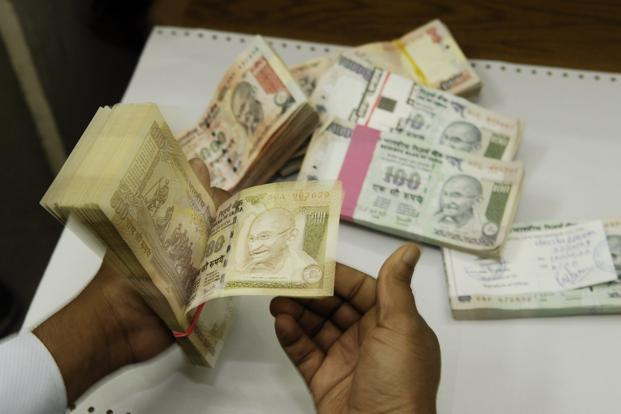 A file photo of Indian currency notes. The unit fell 0.4% on Monday, its biggest single-day fall since 4 January.