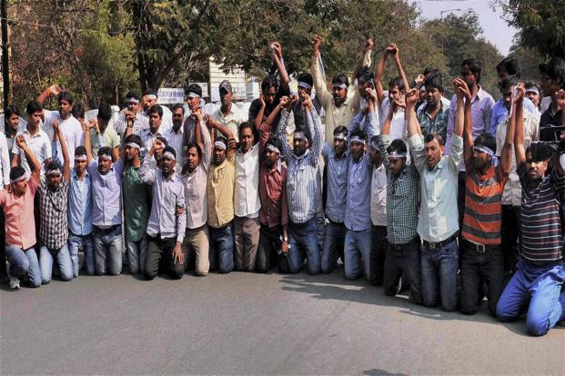 A file photo of pro-Telangana protesters in Hyderabad on Sunday. Photo: PTI