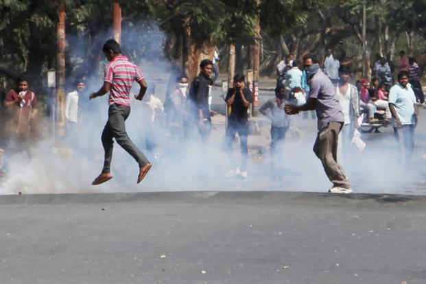 A file photo of students protesting in Hyderabad on Sunday. Photo: AP