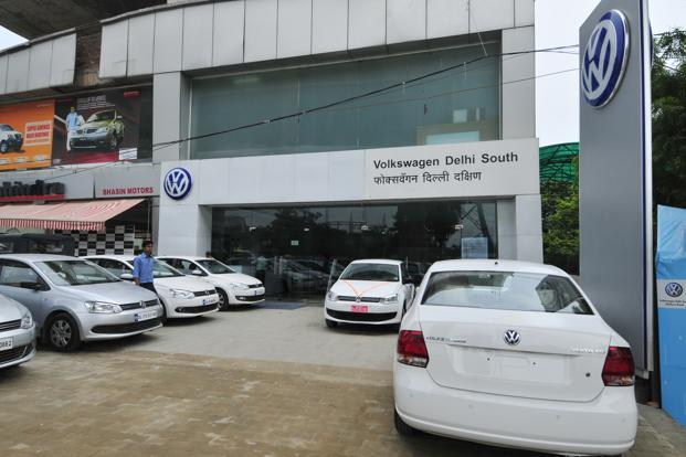A file photo of a Volkswagen showroom in New Delhi. Photo: Ramesh Pathania/Mint