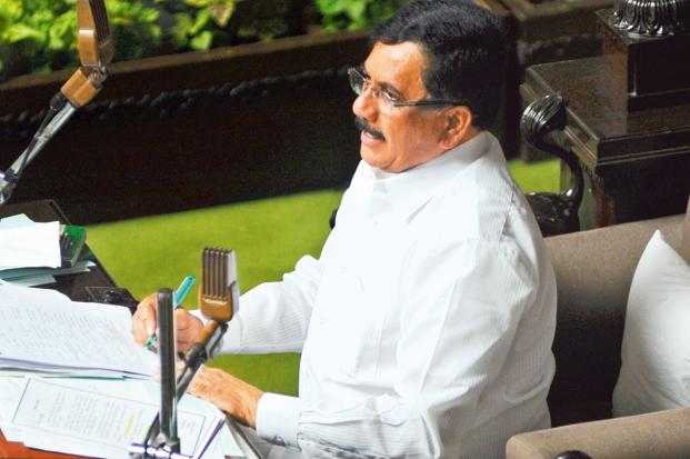 A file photo of Karnataka legislative assembly speaker K.G Bopaiah. Bopaiah accepted the resignations of all 13 supporters of former chief minister B.S. Yeddyurappa on Tuesday evening. Photo: Gagan