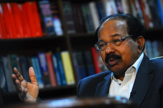 A file photo of oil minister M. Veerappa Moily. Diesel is currently sold at a loss of over `10.80 per litre. Photo: Pradeep Gaur/Mint