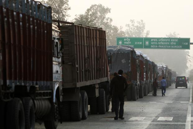 A file photo of loaded trucks parked outside the Wagah border gate at Amritsar to cross over to Pakistan. Photo: Mint