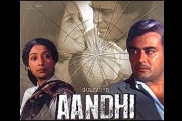 <i>Aandhi</i> (1975) was rumoured to be based on the life of Indira Gandhi, and hence was banned during the emergency. However, in 1977, after the Congress lost the elections, the ruling Janata party cleared the movie and it was shown on television.
