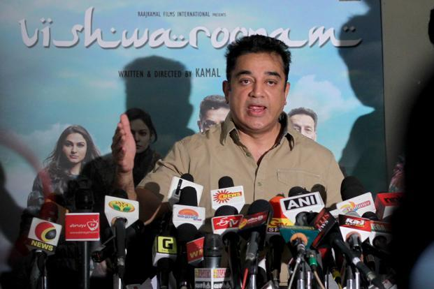 Actor Kamal Hassan addressing to media persons regarding his movie 'Vishwaroopam' controversy at his residence in Chennai on Wednesday. Photo: Sai Sen/Mint