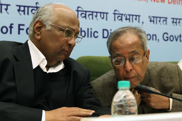 8 February 2012: Sharad Pawar with Pranab Mukherjee in New Delhi. Pawar entered the Maharashtra legislative assembly for the first time in 1967 from Baramati, representing the undivided Congress party. HT