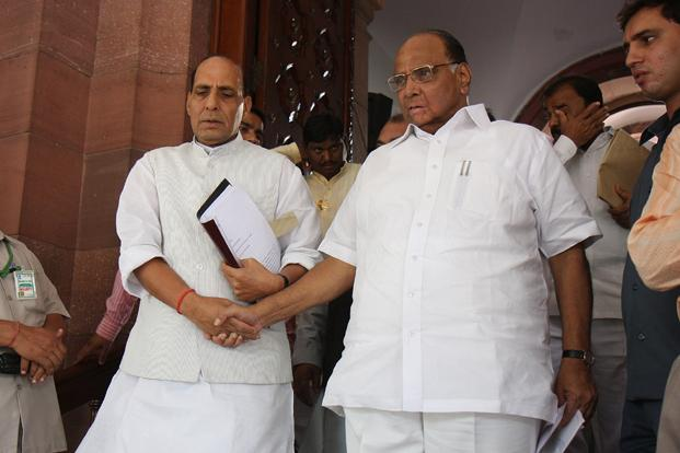 16 July 2009: Sharad Pawar with BJP leader Rajnath Singh. One of his great strengths ever since he began his political career in 1956 has been his ability to balance relationships with a vast spectrum of political leaders. HT