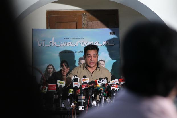 Actor Kamal Haasan talks to reporters about the Vishwaroopam controversy at his residence in Chennai. Photo: SaiSen