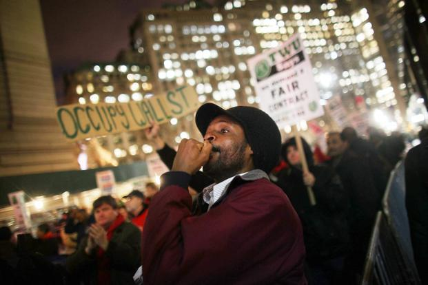 A file photo of supporters from 'Occupy Wall Street' in New York City. Photo: AFP