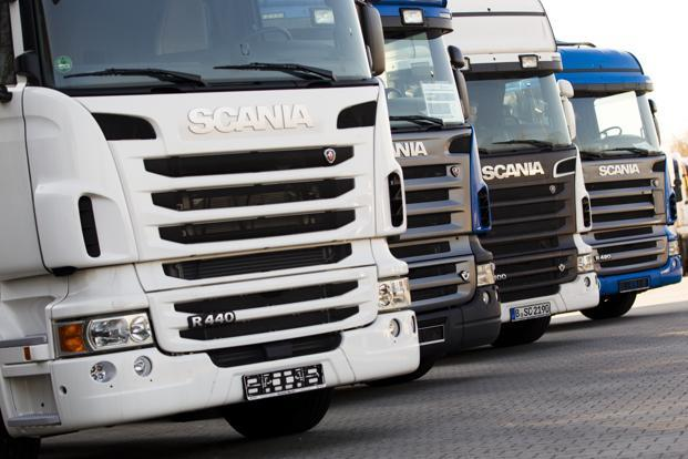 A file photo of Scania trucks in Berlin. Photo: Reuters