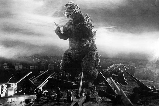 A still from the movie Gojira.