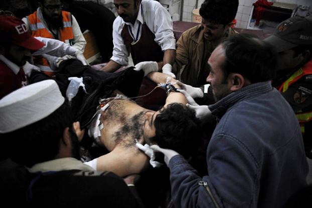 A suicide bomber targeted a Shiite Muslim mosque in northwest Pakistan on Friday, killing 21 people and wounding up to 50 as worshippers poured out of weekly prayers. Photo: AFP
