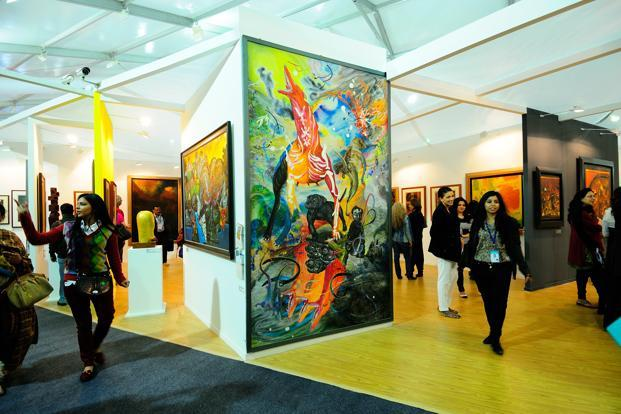 On Friday, the first day of the fair, some galleries said they had made sales ranging from a few lakhs of rupees to `10 crore. Photo: Priyanka Parashar/Mint