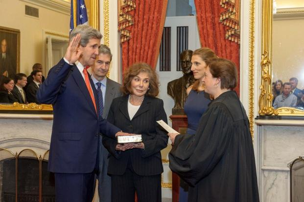 John Kerry was sworn in as US secretary of state on Friday. Kerry, who is unlikely to join any future presidential race, is likely to use this position to shore up his reputation as America's most consummate diplomat. Photo: AFP