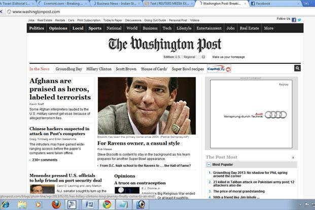 The Washington Post said in a front page story that the attack was detected in 2011.